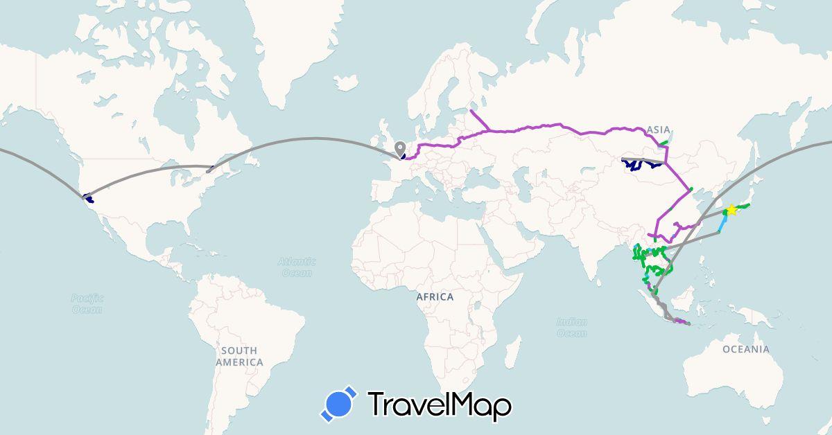 TravelMap itinerary: driving, bus, plane, cycling, train, hiking, boat in Canada, China, France, Hong Kong, Indonesia, Japan, Cambodia, South Korea, Laos, Myanmar (Burma), Mongolia, Malaysia, Russia, Thailand, United States, Vietnam (Asia, Europe, North America)